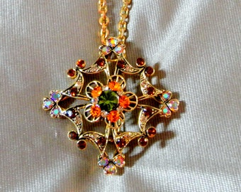 Vintage Rhinestone Repurposed Pendant Brooch Pin with Peridot Garnet Topaz and Citrine Crystals and Chain Necklace