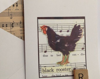 Black Rooster collage note card