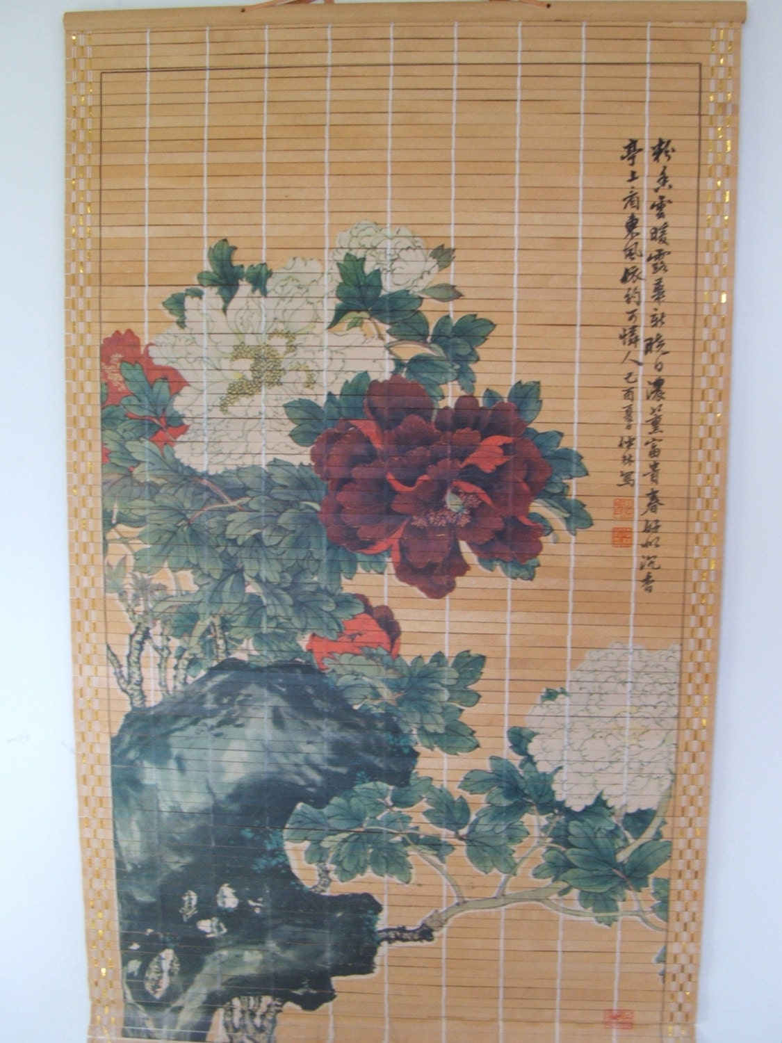 Vintage Japanese Bamboo Scroll Wall Hanging With Tree Peony