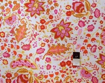Dena Designs LIDF009 Sunshine Bellflower White LINEN Fabric 1 Yd