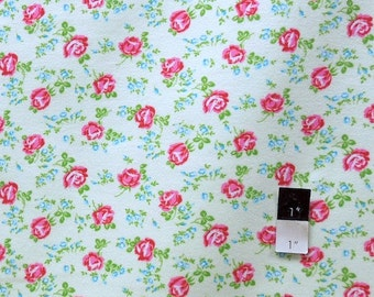 Tanya Whelan FATW001 Sugar Hill Scattered Roses Ivory Cotton FLANNEL Fabric 1 Yard