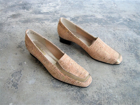 1960s Natural Cork and Gold Loafers.