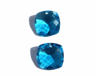 Matched Pair - Finest Quality Apatite Blue Quartz Front to Back Drilled Faceted Fancy Cushion Briolettes Size 15x15mm Approx