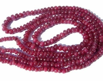 2 Strands Full 18 Inches 18x2-36 Inches - AA Natural Ruby Smooth Rondelles Size 4 - 5mm Good Quality Wholesale Price