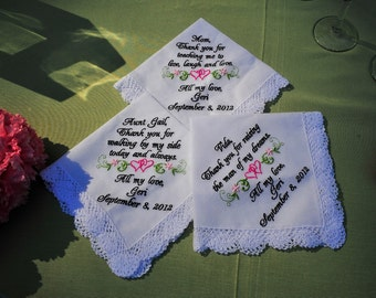 Custom Personalized Embroidery of Three Wedding Handkerchiefs