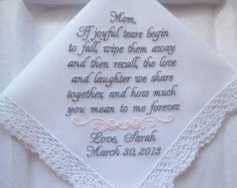Mother of the Bride Gift -Custom Embroidered Personalized Wedding Handkerchief, Wedding Hankies, Wedding Handkerchiefs