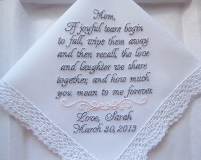 Mother of the Bride Wedding Handkerchief, Wedding Hankies, Wedding Handkerchiefs