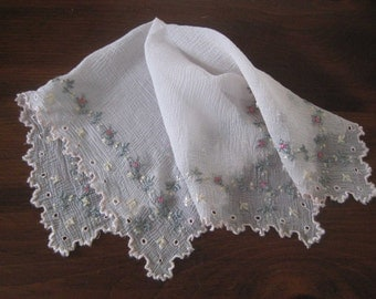 Vintage Hanky Sheer Pink Linen Floral Embroidery - Like NEW condition MINT