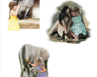 Horse: LITTLE GIRL with White HORSE Fabric Squares.  Three Poses with 4 on each squares. Total Twelve 6 inch Fabric squares for quilting.