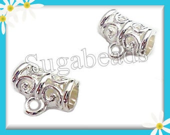 10 Bright Silver Plated Scroll Design Bails 11mm