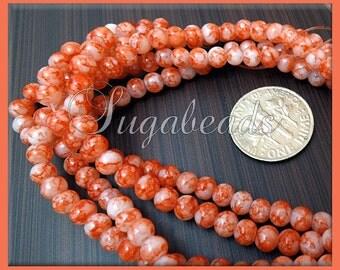 195 Orange and Cream Round Glass Beads 4mm