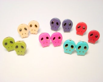 Turquoise Day of the Dead Sugar Skull Stud Earrings