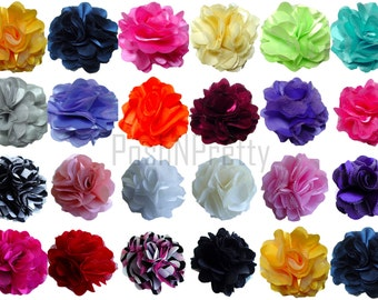 "10 pcs mini 1.5"" Satin Mesh flowers - Mini petite 1.5 inches - CHOOSE YOUR COLORS"