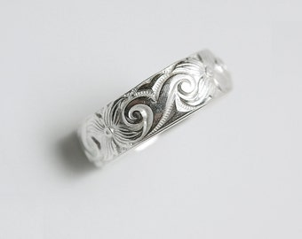 Wide Carved Silver Band Ring Engravable
