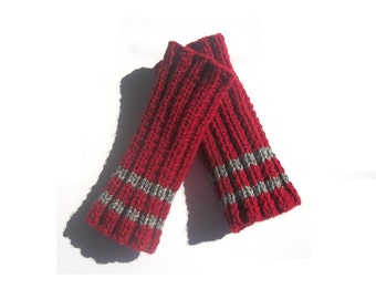 Men's Fingerless Gloves - MADE TO ORDER Hand Knit in Dark Red with Grey Stripes - Valentines Day For Him