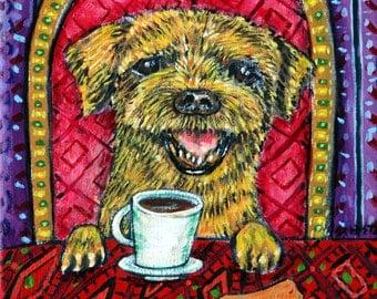 border terrier coffee dog animal art tile coaster  JSCHMETZ modern abstract folk pop art AMERICAN ART gift