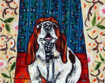 basset hound dog -  dog art PRINT , basset hound print,dog art,dog print,modern dog art,modern folk art,pop  art,gift,poster
