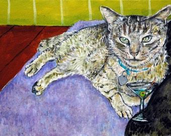 cat Art Print, poster, ,modern pop art, martini,martini print