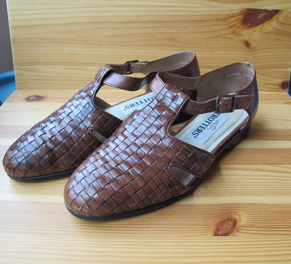 80s Trotters Brown Basket Weave Woven Leather By