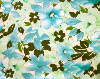 Aquamarine, Soft Green, and Cream Synthetic Crepe Fabric Yardage with Watercolor-Style Flowers