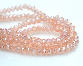Rosaline Pink 4x3mm Crystal Rondelle Beads   20