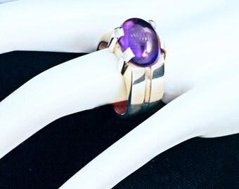 Amethyst & Sterling Modernist Ring - Nepal