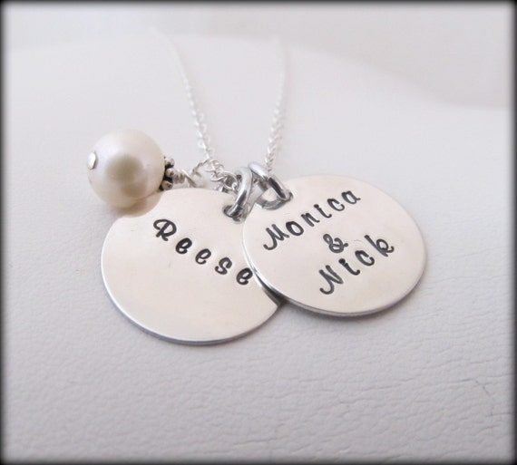 Engraved Necklace Hand Stamped Jewelry - Personalized Sterling Silver Simple 2 Disc Necklace With Pearl