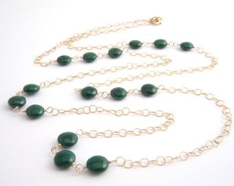 Malachite Long Strand Necklace, 14k Gold Filled Chain, Emerald Green, Gold, Long Necklace