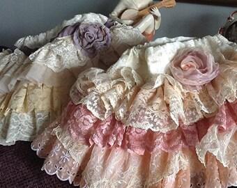Wedding Flower Girl/Birthday Party  Custom Vintage Ruffled Lace Designer Skirt by Rosanna Hope for Babybonbons