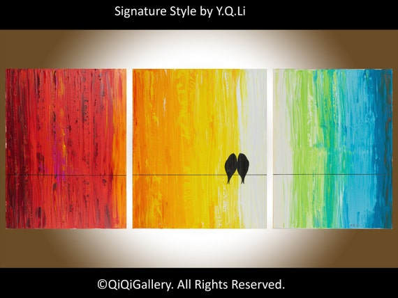 "54"" large painting Birds art home decor wall decor wall hangings birds on a wire  ""Just Us"" by QIQIGALLERY"