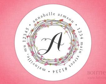 Custom Return Address Sticker Labels--Valentine Wreath