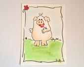 Tasting flower - Original Miniature Aceo by bdbworld on Etsy