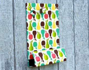 Message Center Magnet Board with Pencil Holder - Apples and Pears Fabric