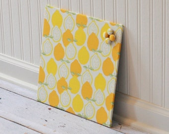 Fabric magnet board, magnetic bulletin board, note board, memo board, kitchen organization 12 inch x 12 inch covered in Lemons Fabric-