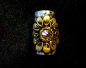 Dread Bead Gold Flowers with Austrian Crystals on Silver Base Bead  You Choose Hole Size