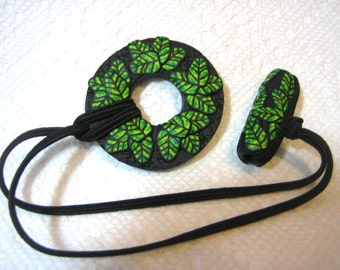 Dreadlocks Hair tie or Ponytail Holder for Dreads or Thick Hair or Sisterlocks Green Leaves