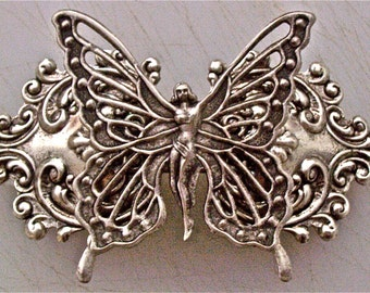 Butterfly Fairy Sterling Silver Plated Brass Ornate Barrette