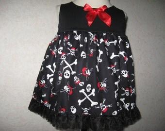 NEW Goth Baby Girls Black,Red,white Skull,pirates,Top/Dress,gift Rock,Punk sequoia