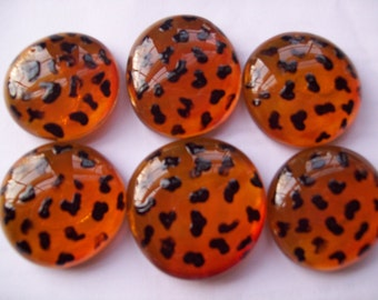 Handpainted large glass gems party favors crafts wedding  leopard print animal print