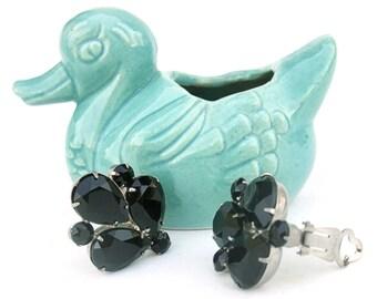 Vintage Earrings 1950s Black Rhinestone Costume Jewelry Mid Century 50s Vintage Accessories Large Statement Jewelry Clip On Earrings