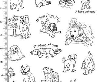 Plate 113 Full Sheet of Dog Rubber Stamp Dies, Pug, Pit Bull, Labrador, Maltese, Bulldog, German Shepherd