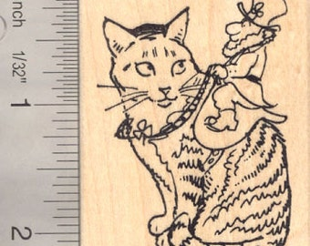 St. Patrick's Day Leprechaun Riding Cat Rubber Stamp J16411 Wood Mounted