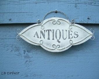 """Vintage Look Metal """"Antiques"""" Sign"""