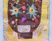 Mr. Sunshine - Primitive Fabric Art Quilt