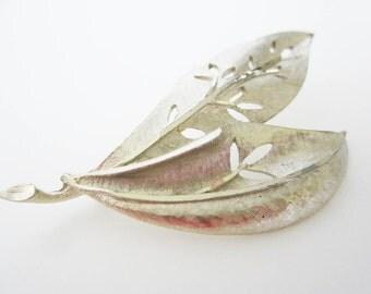 Brushed Silver Leaf Vintage Brooch