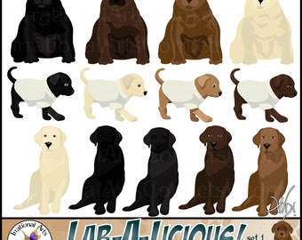Lab a Licious Dog Graphics set 1 INSTANT DOWNLOAD with 14 digital graphics with 8 puppies and 5 adults 1 black and chocolate lab family