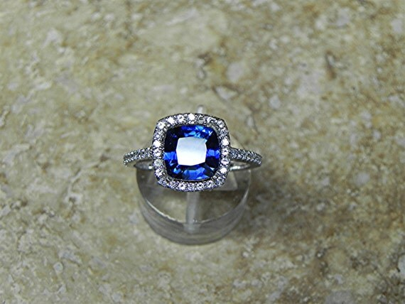 AAAA 8x8mm 2 50 ct Lab grown Cushion cut Blue by mastergoldcraft