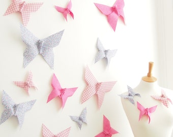 3D Butterfly Wall Art Decor Origami Butterflies Wedding Nursery - 15 Cotton Butterflies Made to Order