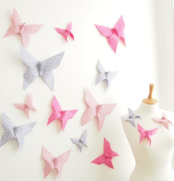 3d butterfly wall art decor origami butterflies wedding for How to decorate a paper butterfly