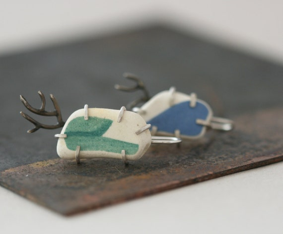 Form Earrings - Sterling Silver and Ceramic